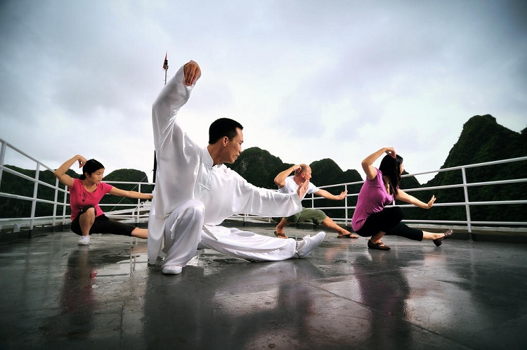 cruise over night on halong bay taichi courses