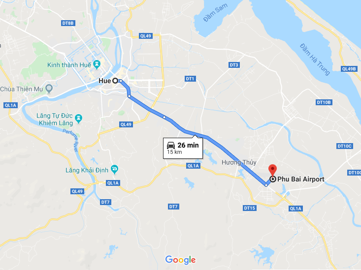 distance between Hue airport and downtown