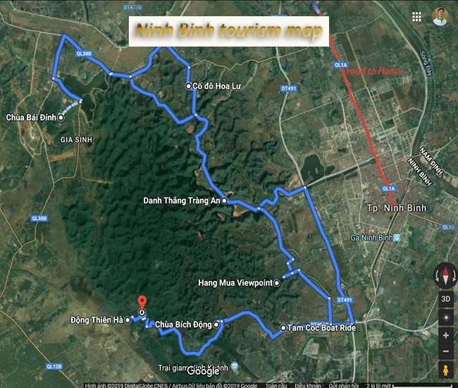 ninh binh tourism map