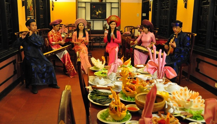 royal meal of hue in vietnamese culinary at the table