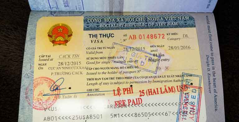 vietnam visa stamped on passport